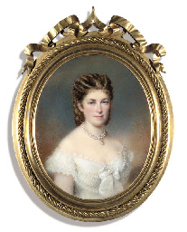 A lady, in lace-trimmed white