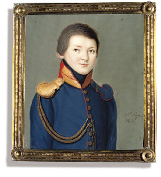 A boy, in red-piped blue unifo