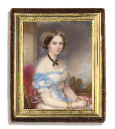 A young lady, in white dress w