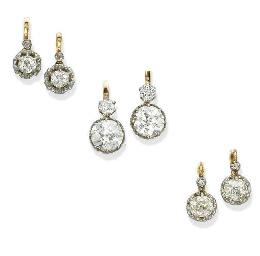 THREE PAIRS OF DIAMOND EAR CLI