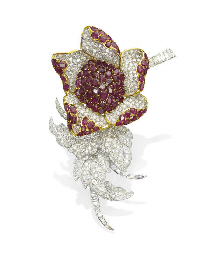 A RUBY AND DIAMOND FLOWER BROO