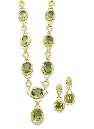 A SET OF PERIDOT AND DIAMOND J
