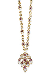 A RUBY AND DIAMOND PENDENT NEC