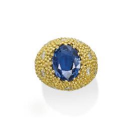 A SAPPHIRE, GOLD AND DIAMOND R