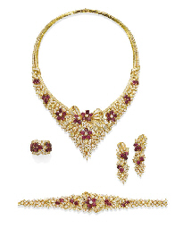 A SUITE OF RUBY, DIAMOND AND C
