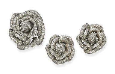 THREE DIAMOND ROSE BROOCHES