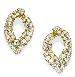 A PAIR OF DIAMOND EAR HOOPS