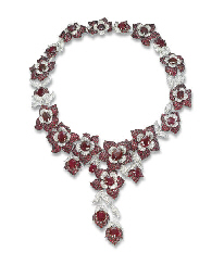 A RUBY AND DIAMOND 'FLOWER' NE