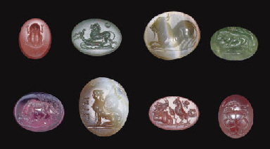 EIGHT ROMAN RING STONES