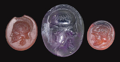THREE ROMAN RING STONES