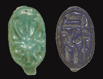 TWO EGYPTIAN FAIENCE FINGER RI