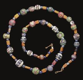 A ROMAN GLASS MOSAIC BEAD NECK