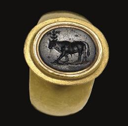 A ROMAN GREEN JASPER RING STON