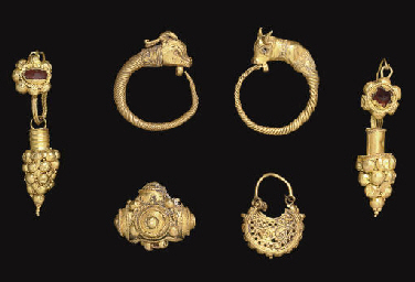 TWO ROMAN GOLD AND GARNET EARR