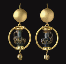 TWO MINIATURE BYZANTINE GLASS JUG PENDANTS