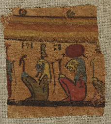 AN EGYPTIAN PAINTED LINEN FRAG