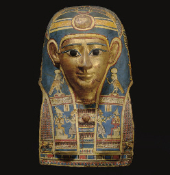 AN EGYPTIAN GILT CARTONNAGE MU