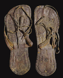 A PAIR OF COPTIC LEATHER SANDA
