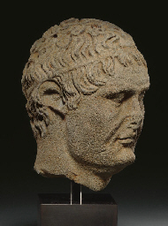 A GREEK BASALT PORTRAIT HEAD O