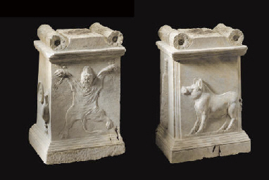 A ROMAN MARBLE ALTAR FOR HERCU