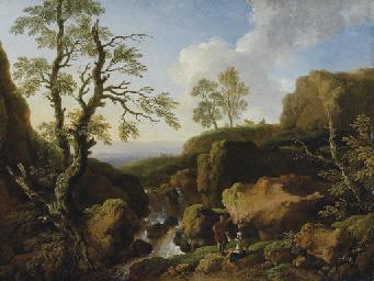 Paesaggio con cascata e figure