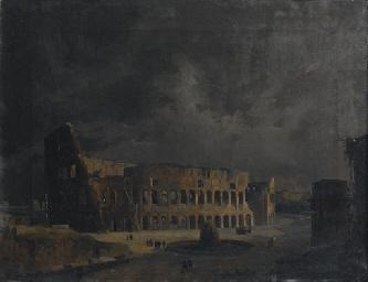 Veduta notturna del Colosseo,