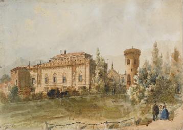 Il castello di Envie con figur