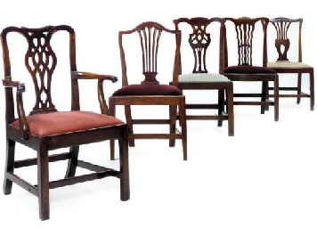 A MATCHED SET OF FIVE MAHOGANY