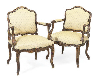 A PAIR OF BEECH FAUTEUILS