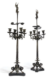 A PAIR OF FRENCH BRONZE FOUR-L