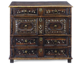 AN OAK AND INLAID CHEST
