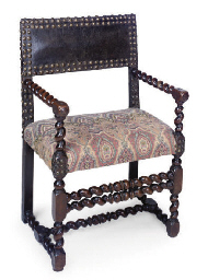 A FLEMISH WALNUT ARMCHAIR