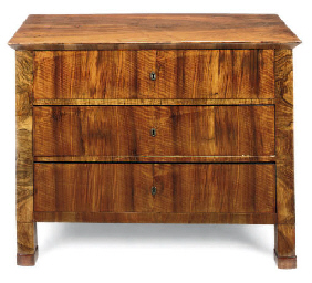 A BIEDERMEIER WALNUT CHEST