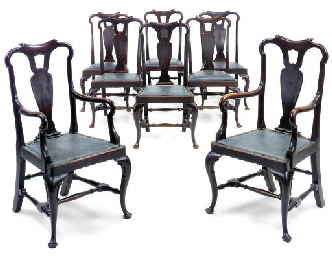 A SET OF EIGHT MAHOGANY ARMCHA
