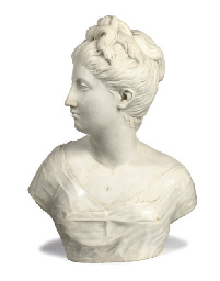 A FRENCH WHITE-MARBLE BUST OF