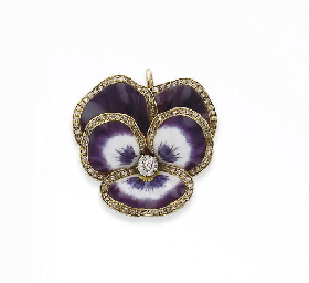 BROCHE EMAIL ET DIAMANTS, PAR