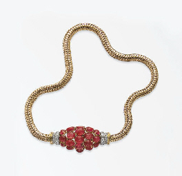 COLLIER RETRO RUBIS ET DIAMANT