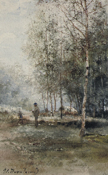 Artist in a Birch Forest