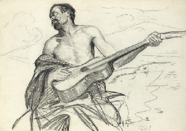 Study of a man with a guitar