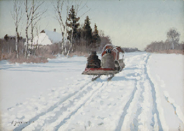 A sleigh returning to the farm