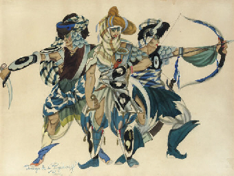 Costume designs for three warr