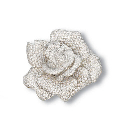 A DIAMOND ROSE CLIP BROOCH