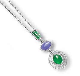 A JADEITE AND DIAMOND PENDENT
