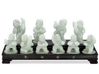 A SET OF JADEITE FIGURINES