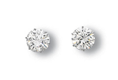A PAIR OF DIAMOND EAR STUDS
