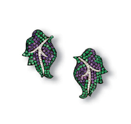 A PAIR OF AMETHYST, EMERALD AN