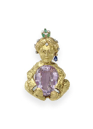 A KUNZITE AND MULTI-GEM BROOCH