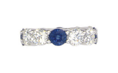 A DIAMOND AND SAPPHIRE BAND