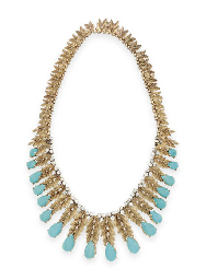 A TURQUOISE, DIAMOND AND GOLD