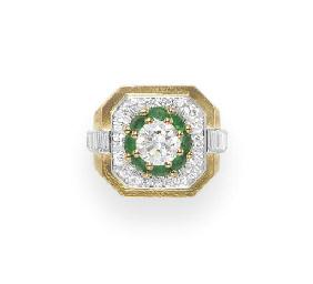 A DIAMOND, EMERALD AND GOLD RI